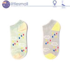 2 Pairs Women Girls Socks Hosiery Ankle Low Cut Weather Cloud Rain Pastel Casual