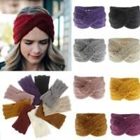 Women Elastic Crochet Knitted Wool Ear Warmer Cross Headband Hairband Headwrap