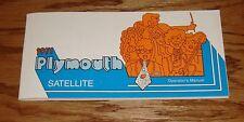 1971 Plymouth Satellite Owners Operators Manual 71 Road Runner GTX
