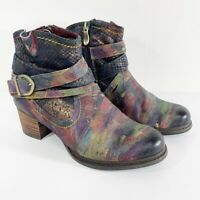 L'Artiste by Spring Step Shazzam Zip Booties Womens 36 Heel Casual Hand Painted