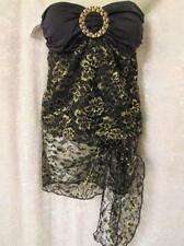 CHELSEA B.SEXY 2 PC EXOTIC CUSTOM MADE SWIM TOP SZ M BLK/GOLD LACE