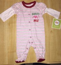 NEW INFANT GIRL'S CIRCO NB NEWBORN ONE PIECE SANTA LOVES ME RED PINK STRIPED