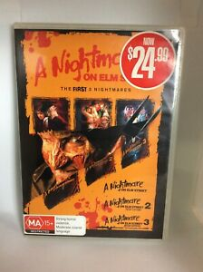 Nightmare on Elm St DVD Region 4 The first 3 Nightmares 3 disc