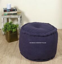 "Indian 18"" Plain Round Ottoman Pouf Footstool Seating Case Cotton Filled Poufs"