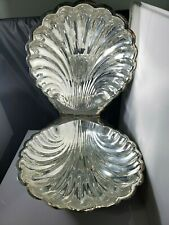 Vintage Silver Plate Lidded Clam Shell Serving Dish With Handle Footed India 629