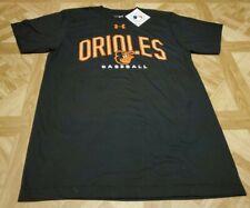 Under Armour Baltimore Orioles Logo T-Shirt MLB Men's Black/Orange Brand New