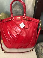 Coach Madison Diagonal Pleated Patent Leather Lindsey Bag F21299 $548 84/punch