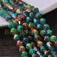 New 50pcs 6mm Bicone Faceted Glass Loose Spacer Colorized Beads Blue&Green