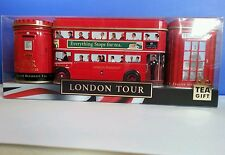English Tea in London Tour Red Bus Post Box & Phone Box Tins Set Souvenir  Gift