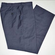 Pantalones de hombre delanteras lisas azules, 100% lana