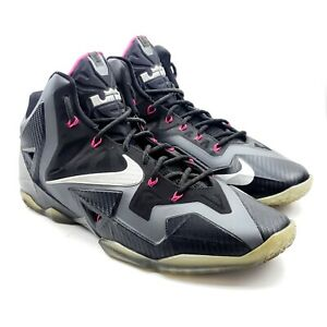 Nike Lebron 11 XI Miami Nights Black Graphite Grey Pink Silver 616175-003 Sz 14
