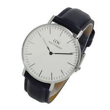 Daniel Wellington Sheffield White Dial SS Black Leather Ladies Watch 0608DW