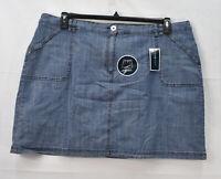 Karen Scott Women's 22w Plus Size Chambray Skort Shorted Skirt, Blue, NwoT