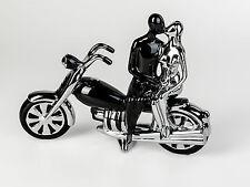 moderne Décoration Sculpture Couple sur moto en céramique noir/ARGENT LONGUEUR