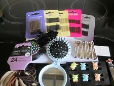 Bag of hair clips, brushes, bands