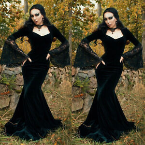 Long Mermaid Gothic Evening Dress Victorian Velvet Prom Formal Gowns Square Neck