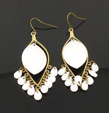 Teardrop Multi Pearl White Ornate Bronze Dangle Jewellery Earrings