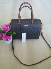 CALVIN KLEIN  brown  luggage leather  canvas  satchel purse msrp $238