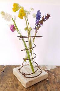 Test Tube stem bud Vase Reclaimed White Distressed wood Rustic Flower Bed spring