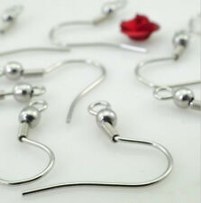 100pcs 316L Stainless Steel Ear Wires Hooks ~with Bead + Coil ~ Earring Finding