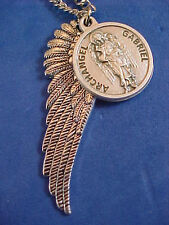 "ARCHANGEL St GABRIEL Saint Medal NECKLACE Pendant Angel Wing PRAYER G2 27"" Chain"