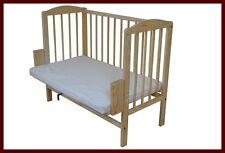 NEW Co Sleeper Bedside Cot Wooden bed crib BEECH mattress portable UK STOCK