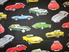 CLASSIC JAGUAR CARS LUXURY CAR COTTON FABRIC FQ