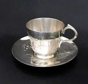 Large Art Nouveau Cup & Saucer by Gallia (Christofle) Poppy Pattern