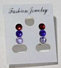3 Pairs of Resin Crystal Stainless Steel Post Earrings Carded New Handmade