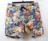 7 Diamonds Men's Drawstring Printed Shorts Blue Hawaiian Floral size Large