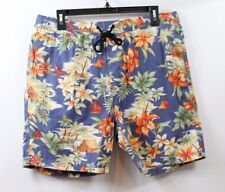 7 Diamonds Men's Drawstring Printed Shorts Blue Hawaiian Floral size Large