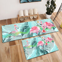 Exotic Tropical Leaves Pink Flamingo Area Rugs Kitchen Living Room Floor Mat Rug