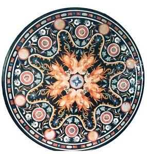 "42"" x 42"" Semi Precious Stones Black Marble Inlay Table Top Home Decor"