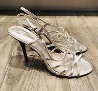 Aldo EUC Silver Strappy Sandals Snakeskin Pattern Size 39/8-8.5