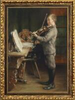 """Hand-painted Old Master-Art Antique Oil painting Boy violin on Canvas 24""""X36"""""""