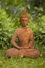 Large Rusted Cold Cast Iron Garden Buddha Ornament 38cm High 3.8kg