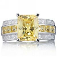 Size 7-11 Yellow Topaz Gold Filled Men Women Fashion Engagement Ring Gift Halo