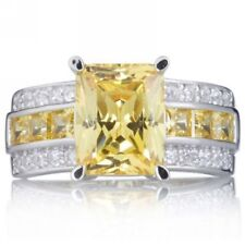 Jewelry Size 9 Princess Cut Topaz 18K Gold Filled Men Women Fashion Ring Gift