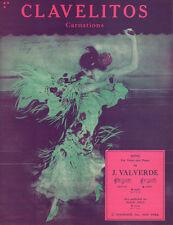 CLAVELITOS (CARNATIONS) Music Sheet-1944-J. VALVERDE-SPANISH DANCER Artwork
