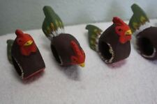 Chicken Napkin Holder Rings Made of Wood and Hand Painted Set of 6 Free Shipping