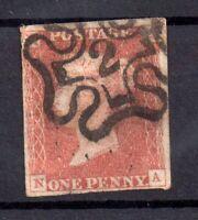 GB QV 1841 1d red imperf No.2 in Maltese Cross 4 margins WS17317
