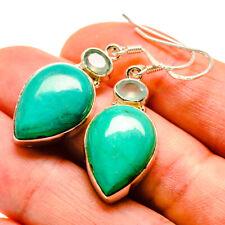 "Chrysocolla, Aqua Chalcedony Sterling Silver Earrings 1 3/4"" Jewelry E410355F"