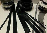 Berisfords BLACK 10 & 9725 - D/F Satin, Sheer & Grosgrain Ribbon - 3mm to 70mm
