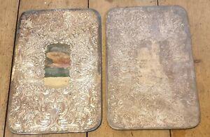 2x Rectangular Antique Silver Plated Place Mats
