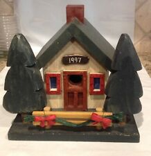 Crate & Barrel Wooden Christmas Holiday Birdhouse - Dated 1997