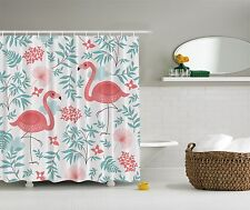 Pink Aqua Flamingo Birds Flamingos Fabric Shower Curtain Digital Art Bathroom