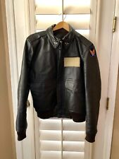 Unbranded Black Leather Bomber Military Aviator Tiger Jacket Coat Men's 42