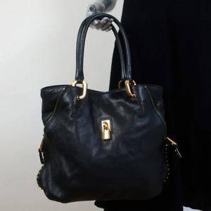 Marc Jacobs Paradise Amber Tote Black Studded Leather Large Shoulder Bag