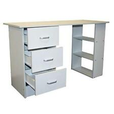White Computer Desk 3 Drawer Shelves Home Office PC Table Study Laptop Furniture