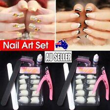 100pcs Fake French Nail Tips Glue Cutter Natural False GEL Pointy Art Acrylic